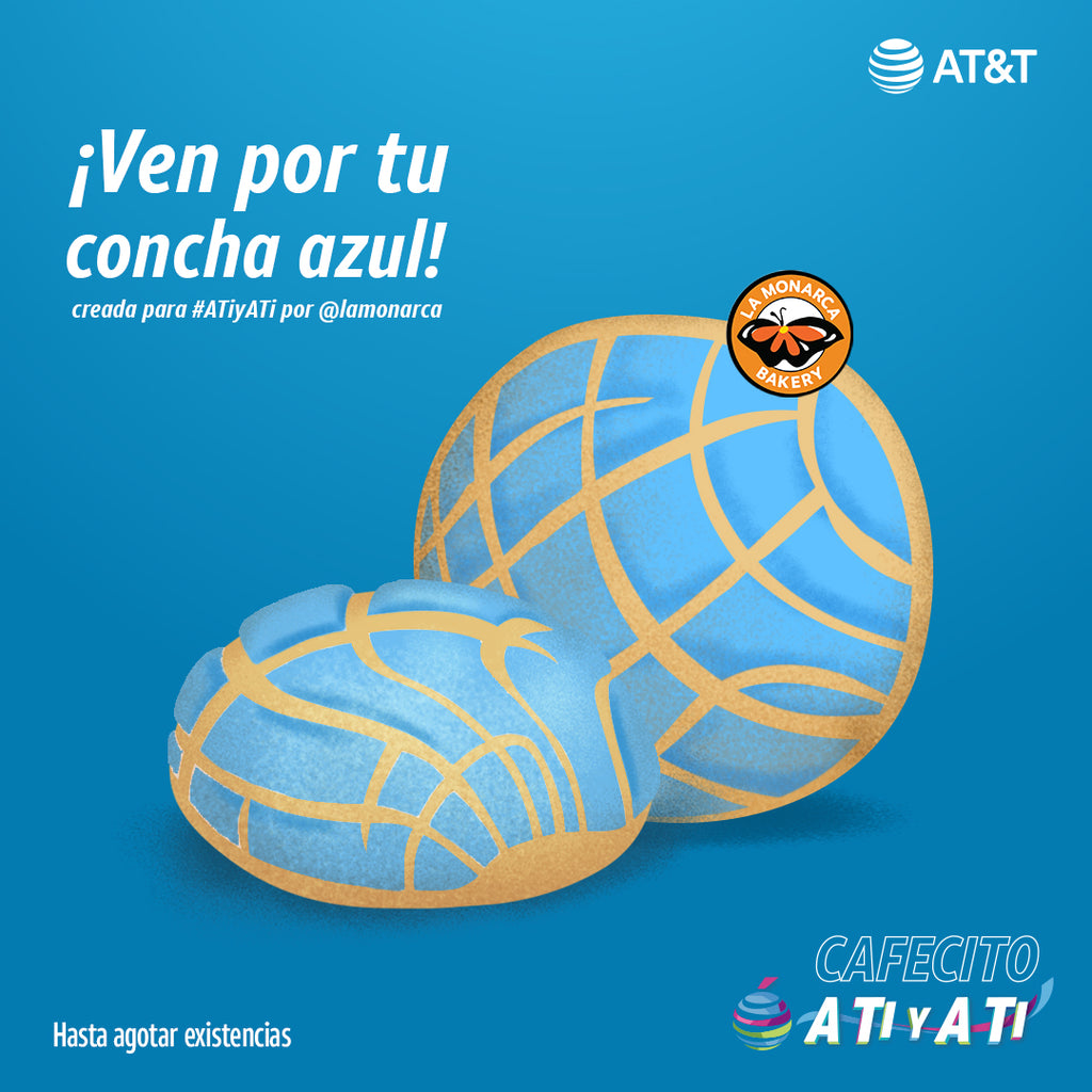 blue concha graphic AT&T partnership image for La Monarca Bakery hispanic heritage month partnership