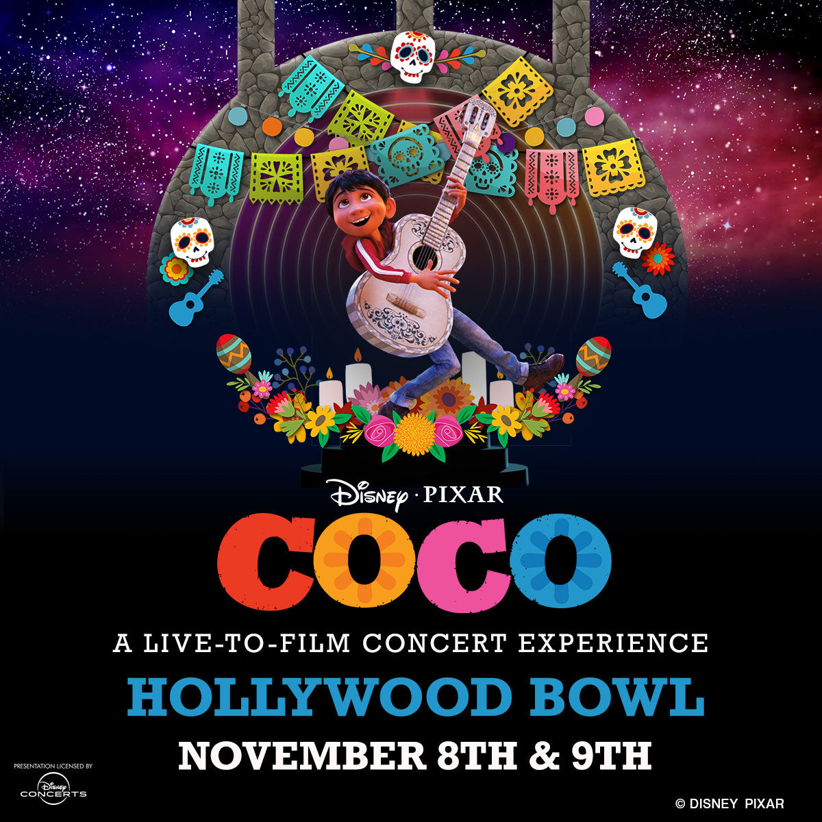 poster disney pixar coco hollywood bowl partnership with la monarca bakery. miguel cartoon character in front of cartoon hollywood bowl.