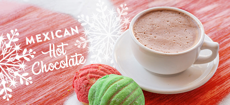 mexican hot chocolate with two conchas red and green christmas image