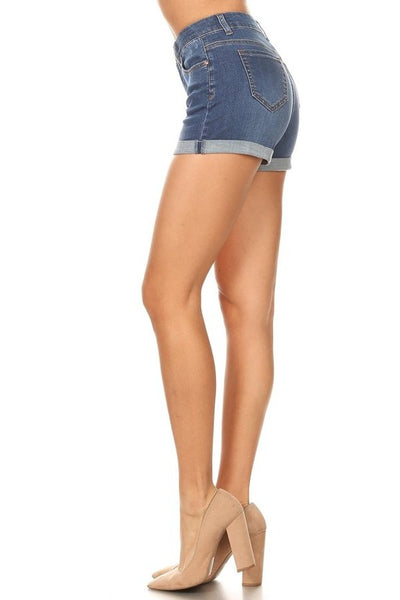 CURVY Casual Day Shorts: Dark Denim