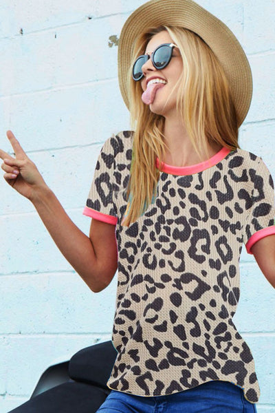 Neon Pink Leopard Top: Multiple