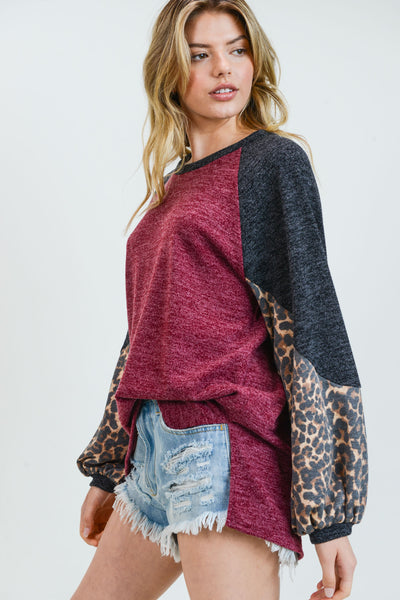 On The Prowl Top: Burgundy/Leopard