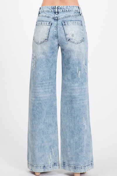 Distressed Wide Leg Boyfriend Jeans: Acid Denim
