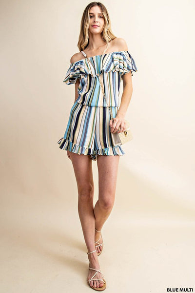 Toast To The Night Romper: Blue Multi