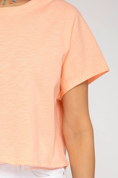 Somewhere Offshore Crop Top: Peach