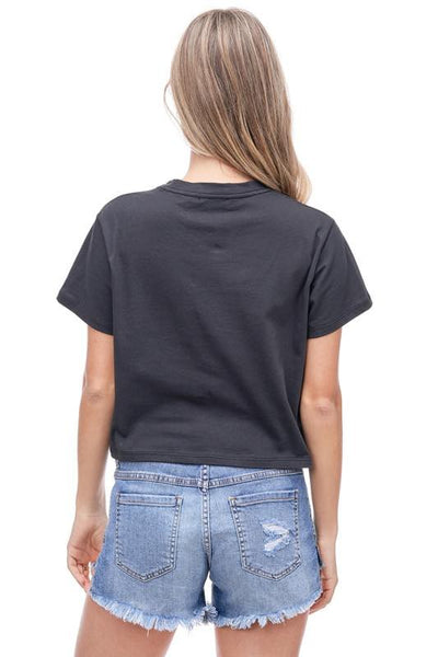 Desert Lips Cropped Tee: Black