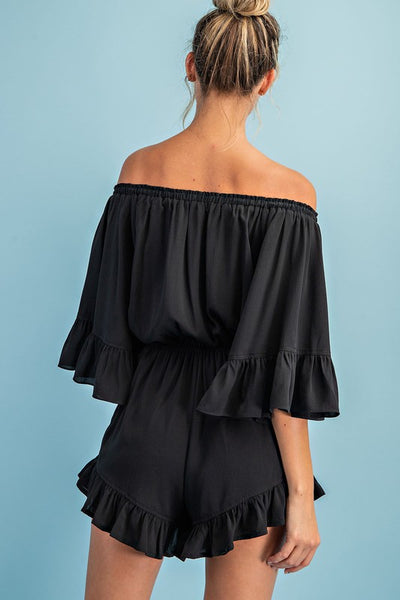 Here For The Party Romper: Black