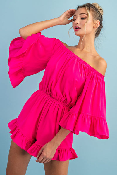 Here For The Party Romper: Hot Pink