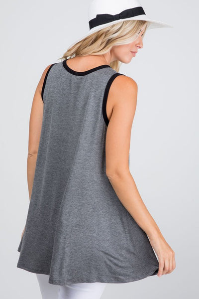 Leopard Color Block Tank: Gray