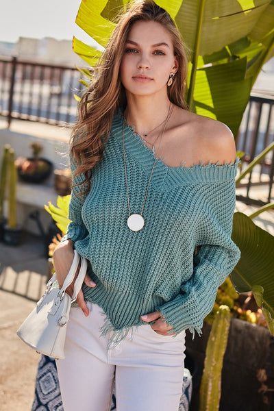 Distressed Sweater: Mineral Blue