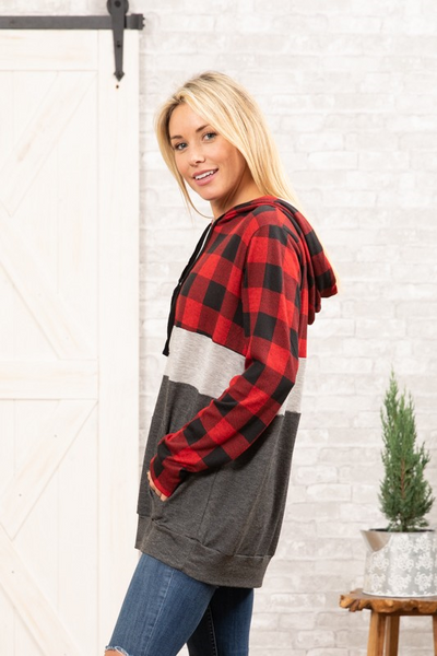 Buffalo Plaid Sweatshirt: Color Block