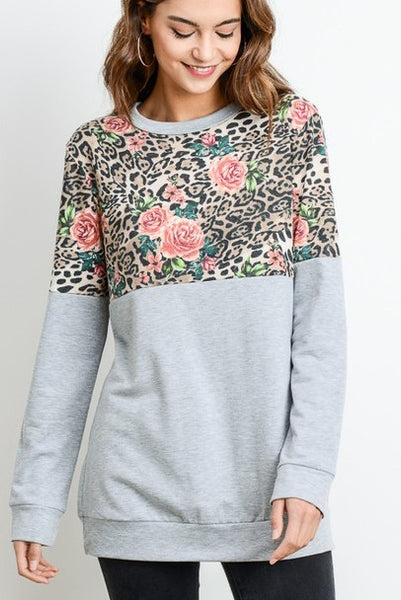 Smell The Roses Tee: Gray/Leopard
