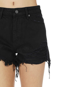 Let's Have Fun Shorts: Black Denim