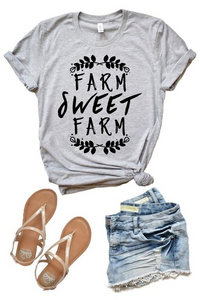 Farm Sweet Farm Tee: Gray