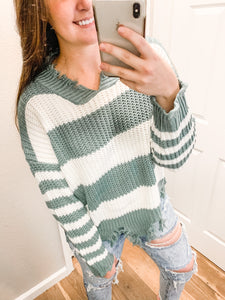 Distressed Color Block Sweater: Hunter Green