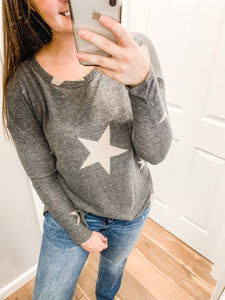 Star Print Long Sleeve Top: Charcoal