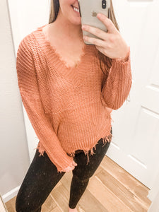 Distressed Sweater: Ash Rose