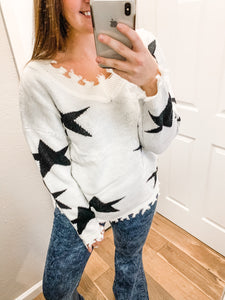 Star Distressed Color Block Sweater: Ivory