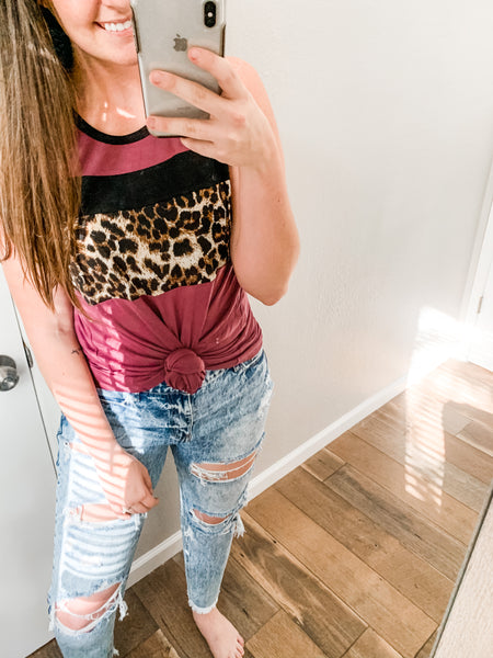 Leopard Color Block Tank: Purple