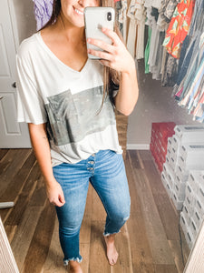 V-Neck Colorblock Tee: Camo