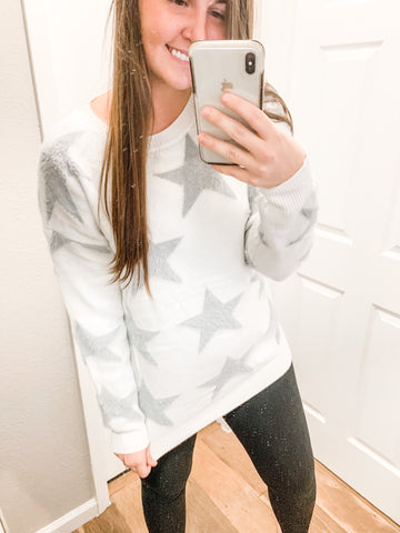Stars Are Bright Sweater: White