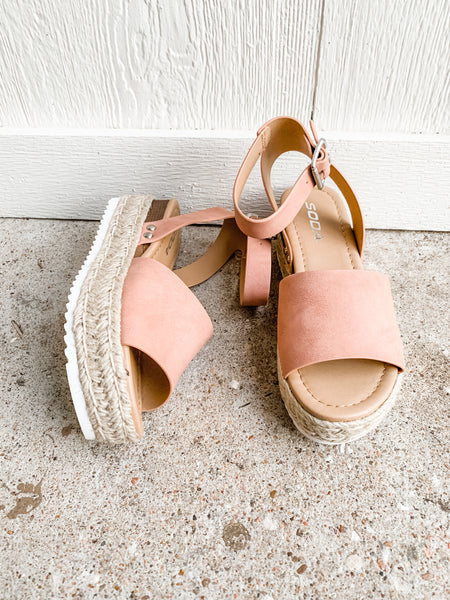 Chloe Platform Sandals: Rose Nude