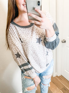 Star Leopard Sweatshirt: Pale Blush/Charcoal