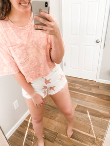 Reach For The Stars Shorts: White/Pink