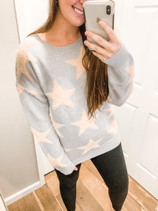 Stars Are Bright Sweater: Light Gray