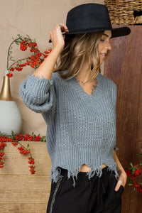 Distressed Sweater: Heather Gray