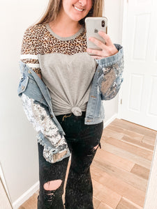 Distressed Sequin Jacket: Denim