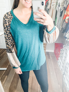 Leopard Sparkle Top: Hunter Green