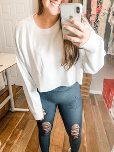 Cute & Casual Crop Top: White