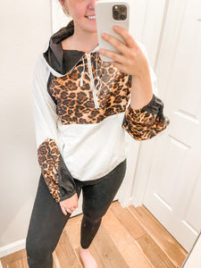Leopard Windbreaker: Off White