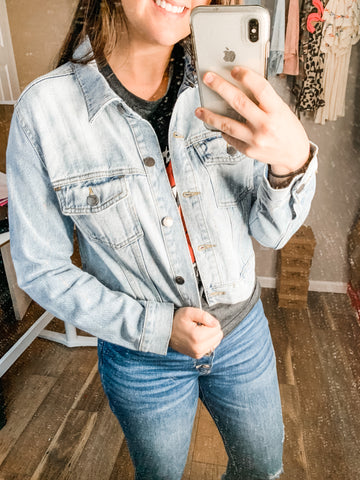 Rhinestone Jacket: Light Denim
