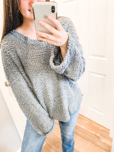 Lets Cozy Up Sweater: Dusty Mint