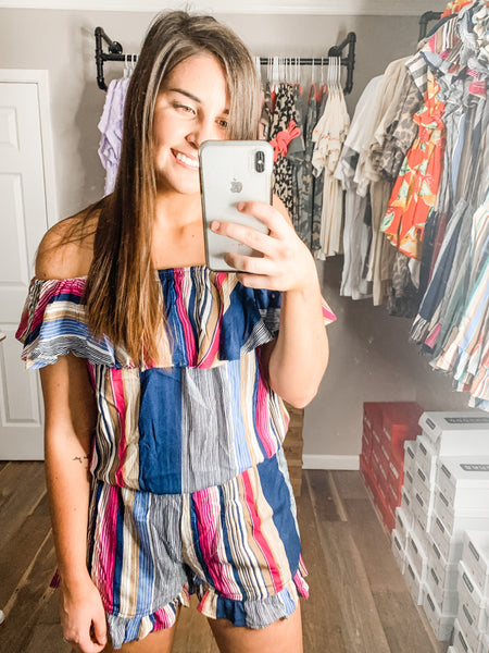 Toast To The Night Romper: Fuchsia Multi