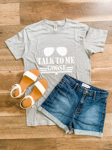Talk To Me Goose Tee: Heather Gray