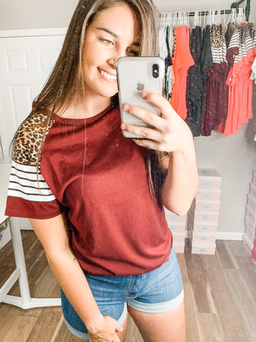 Sweet Talker Top: Burgundy