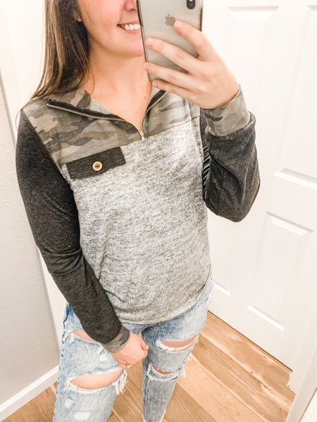 Let's Leave Town Top: Camo/Gray