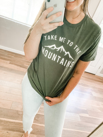 Take Me To The Mountains Tee: Olive Green