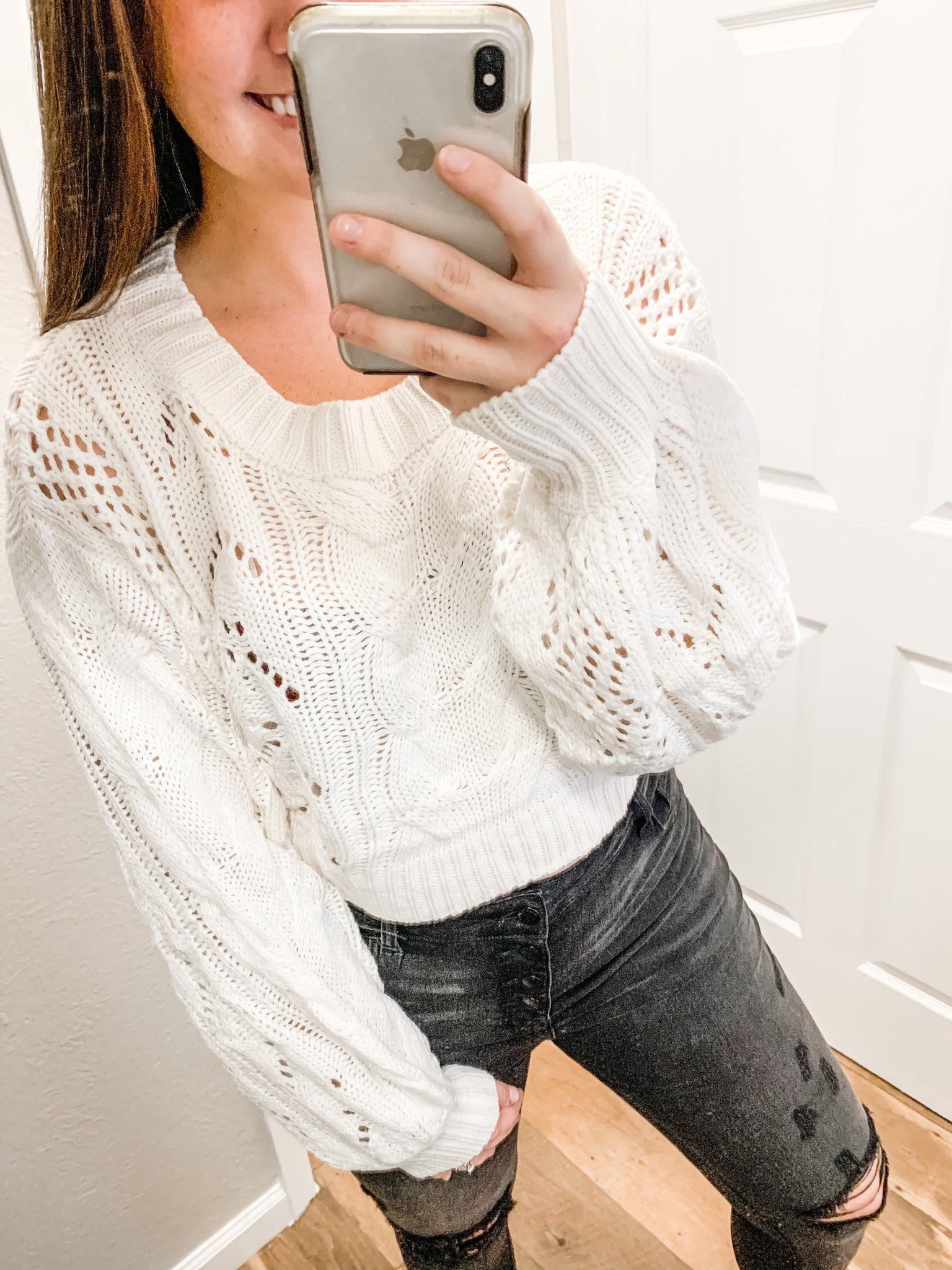 Feeling Flirty Sweater: Ivory