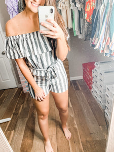Stripes For Days Romper: Black/White