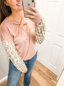 Leopard Puff Sleeves Top: Pink