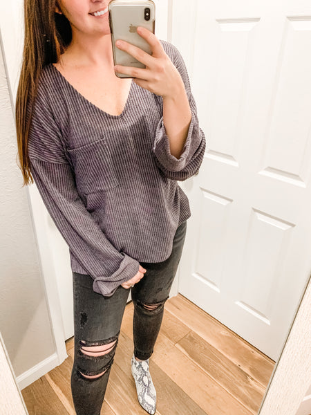 Warm Nights Top: Dark Gray