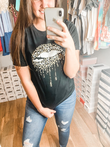 Dripping in Leopard Tee: Black