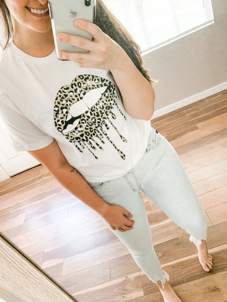 Dripping in Leopard Tee: White