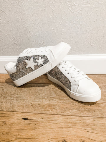 Sequin Star Sneakers: White/Silver
