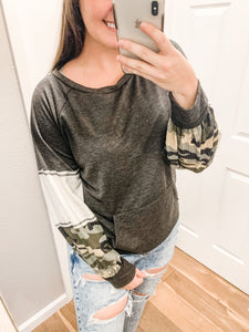 Camo Puff Sleeves Top: Charcoal