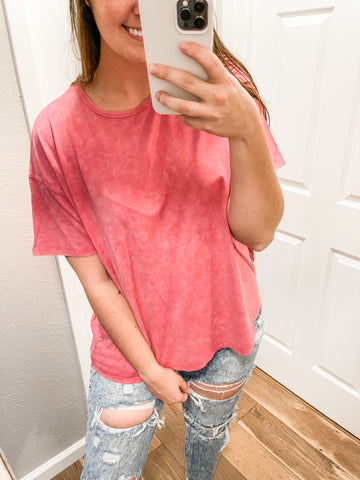 Cute But Comfy Tee: Washed Pink